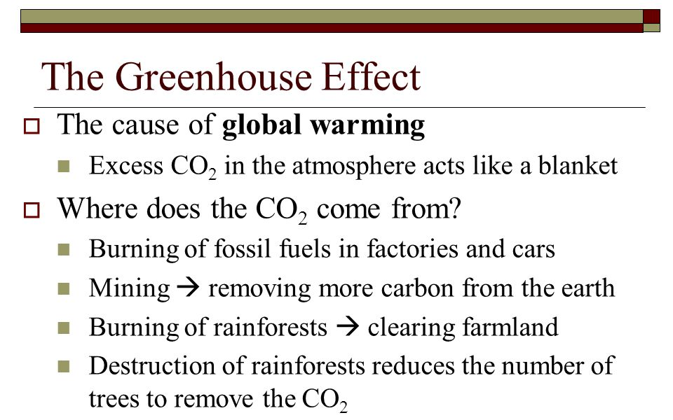 The Greenhouse Effect  The cause of global warming Excess CO 2 in the atmosphere acts like a blanket  Where does the CO 2 come from? Burning of foss