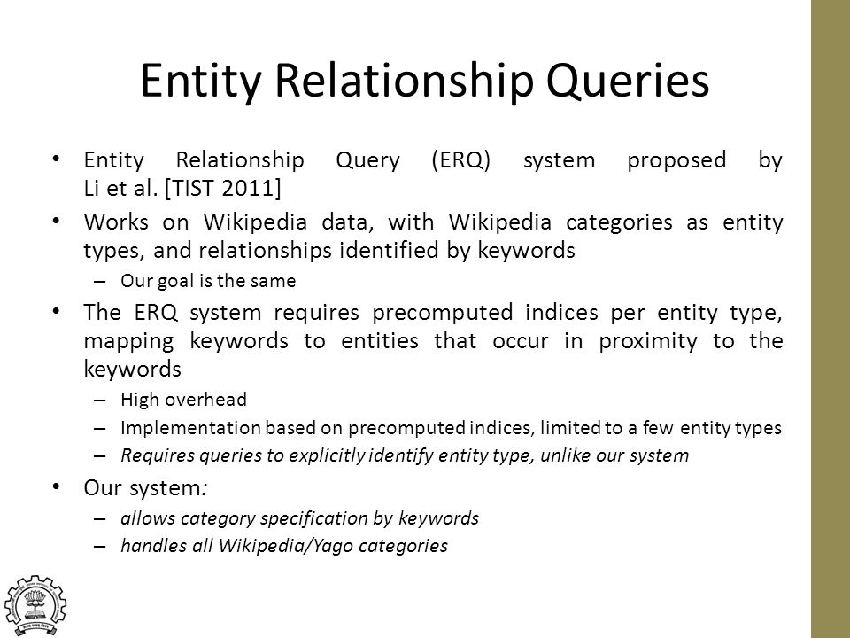Entity Relationship Queries Entity Relationship Query (ERQ) system proposed by Li et al.