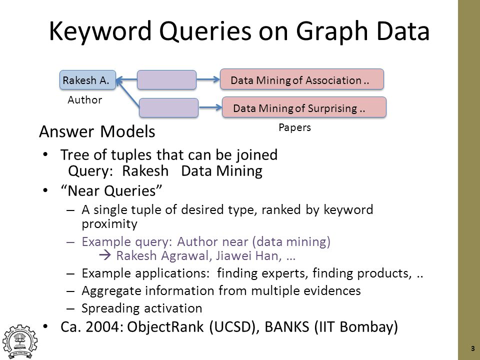 Keyword Queries on Graph Data Tree of tuples that can be joined Query: Rakesh Data Mining Near Queries – A single tuple of desired type, ranked by keyword proximity – Example query: Author near (data mining)  Rakesh Agrawal, Jiawei Han, … – Example applications: finding experts, finding products,..