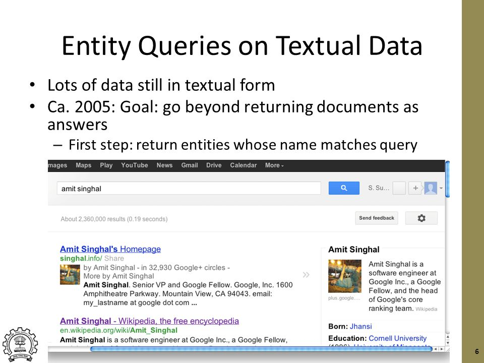 Entity Queries on Textual Data Lots of data still in textual form Ca.