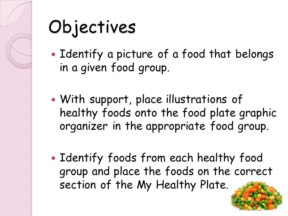 Objectives Identify a picture of a food that belongs in a given food group.