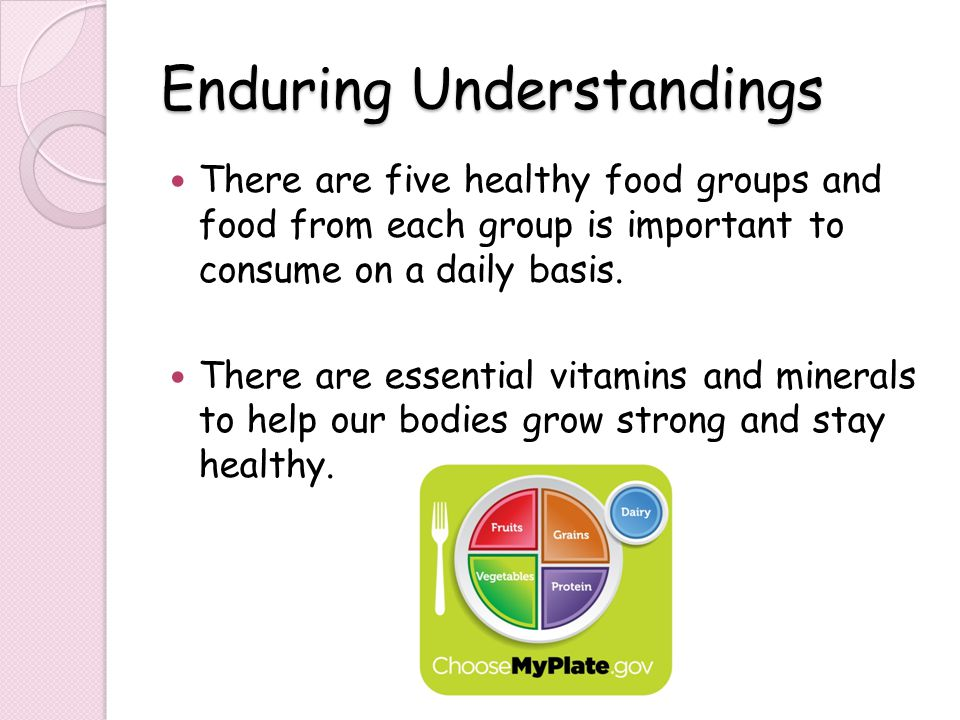 Enduring Understandings There are five healthy food groups and food from each group is important to consume on a daily basis.