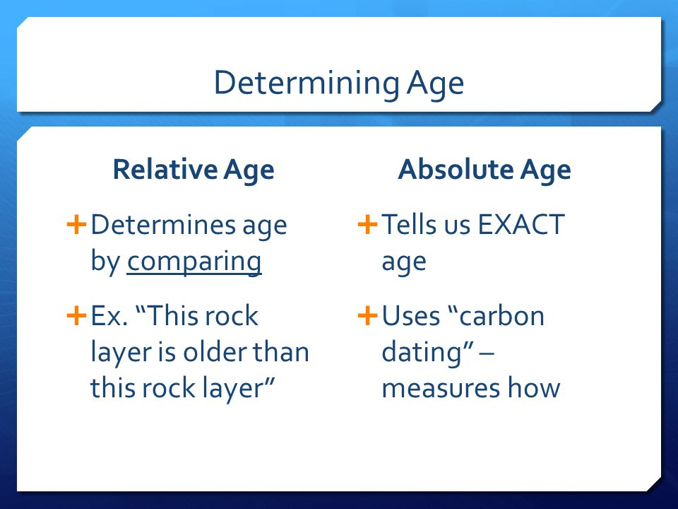 Determining Age Relative Age  Determines age by comparing  Ex.