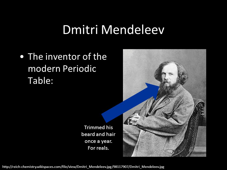 Dmitri Mendeleev The inventor of the modern Periodic Table: http://reich-chemistry.wikispaces.com/file/view/Dmitri_Mendeleev.jpg/98117907/Dmitri_Mendeleev.jpg Trimmed his beard and hair once a year.