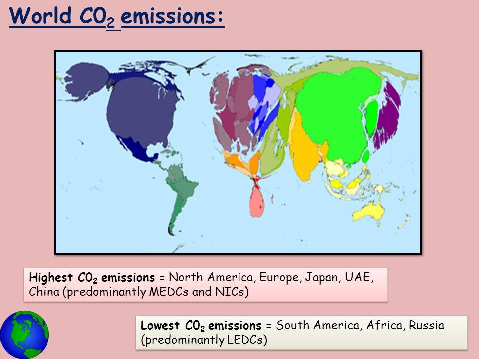 World C0 2 emissions: Highest C0 2 emissions = North America, Europe, Japan, UAE, China (predominantly MEDCs and NICs) Lowest C0 2 emissions = South A