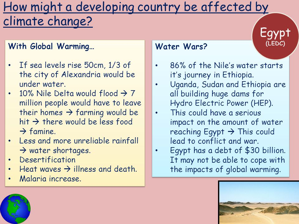 How might a developing country be affected by climate change? Water Wars? 86% of the Nile's water starts it's journey in Ethiopia. Uganda, Sudan and E