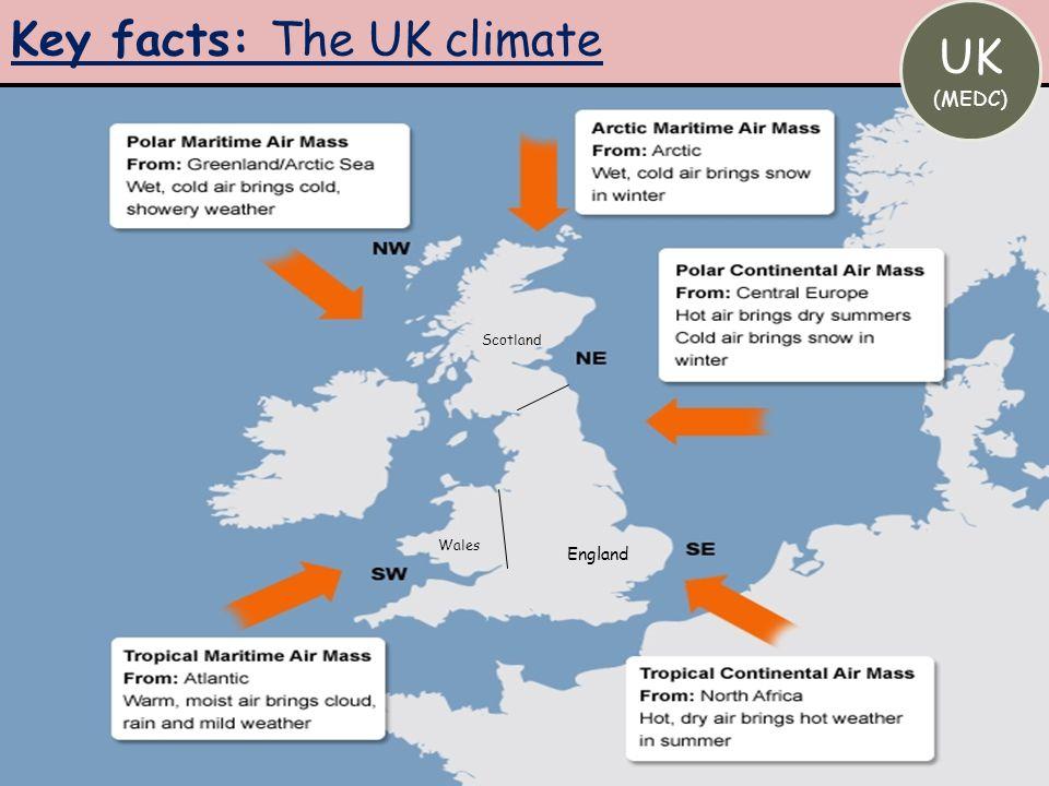 Key facts: The UK climate UK (MEDC) Scotland England Wales