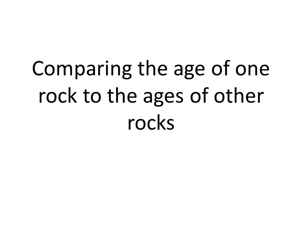 Comparing the age of one rock to the ages of other rocks