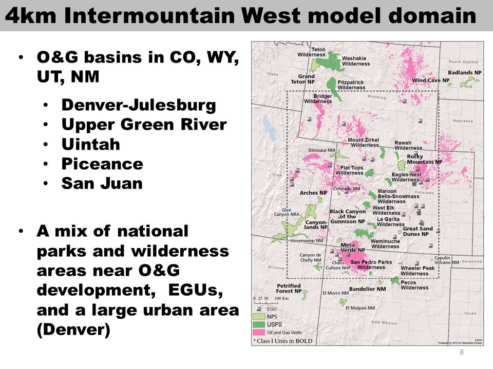 2008 WestJumpAQMS O&G emissions WRAP Phase III 2006 inventory projected to 2008, Permian Basin 2008 inventory, and NEI2008v2; includes both point and area inventories CO, NM, UT, WY have largest O&G emissions http://www.wrapair2.org/calendar/viewitem.jsp?&cal_item_id=88 9