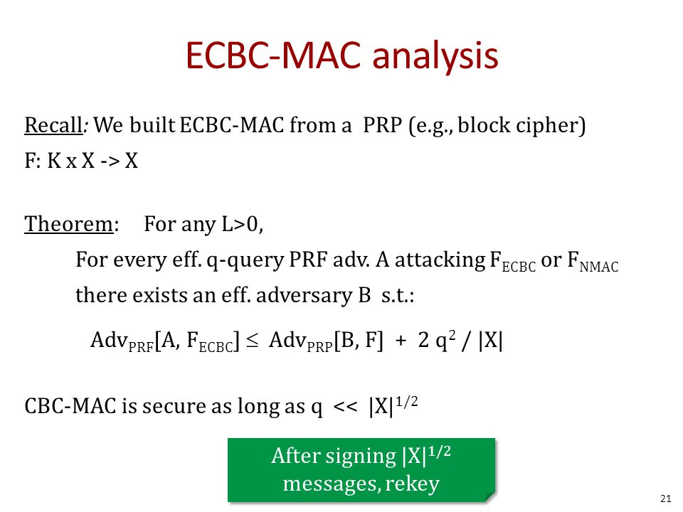 ECBC-MAC analysis Recall: We built ECBC-MAC from a PRP (e.g., block cipher) F: K x X -> X Theorem: For any L>0, For every eff.