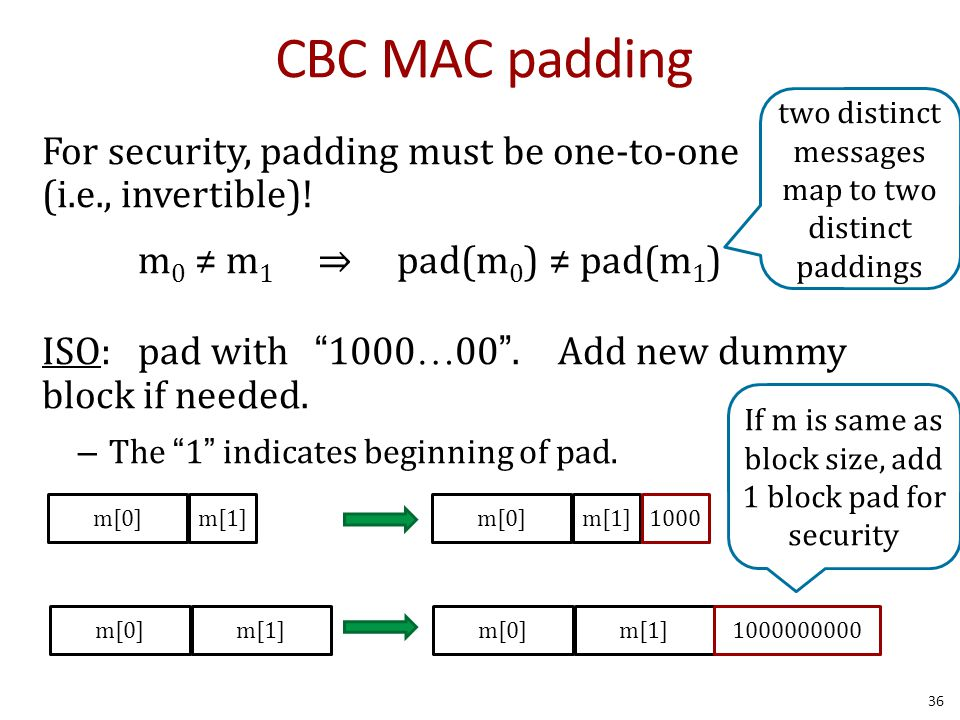 CBC MAC padding For security, padding must be one-to-one (i.e., invertible).