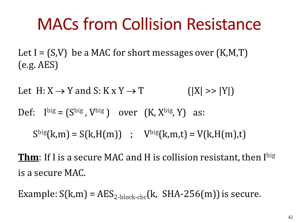 MACs from Collision Resistance Let I = (S,V) be a MAC for short messages over (K,M,T) (e.g.