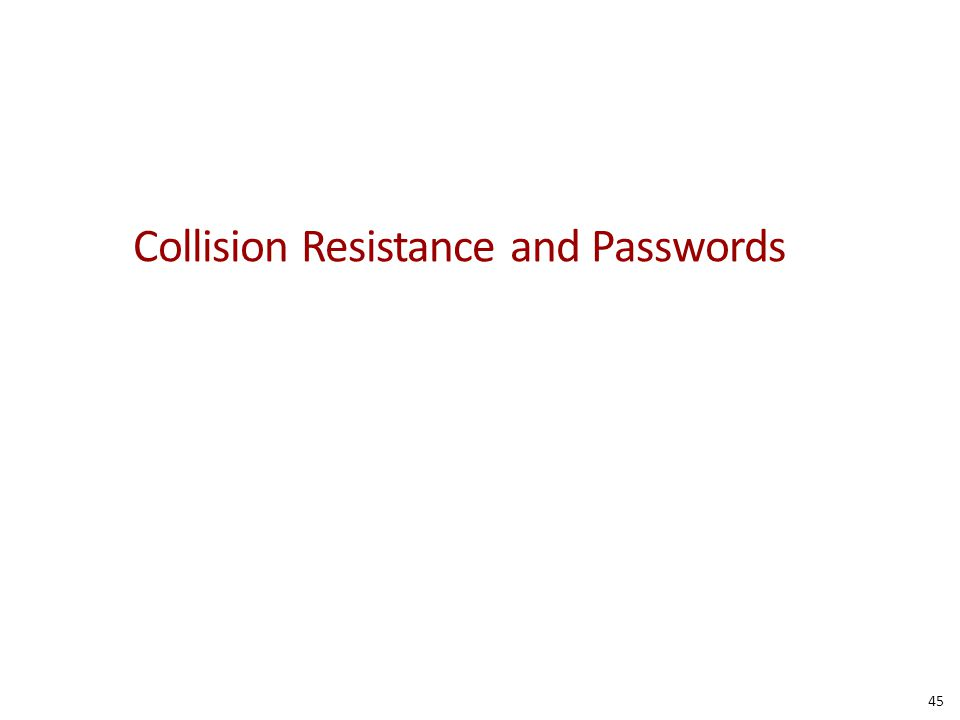 Collision Resistance and Passwords 45