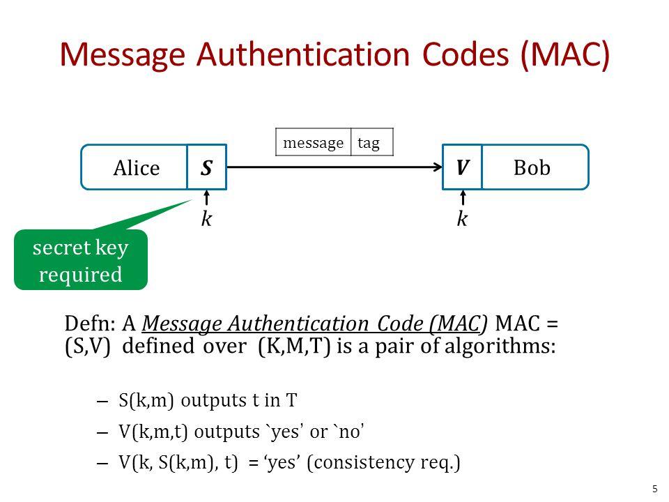 Build MAC out of a hash Example: H = SHA-256 HMAC: S( k, m ) = H( k  opad, H( k  ipad    m ) ) Hash Mac (HMAC) 56