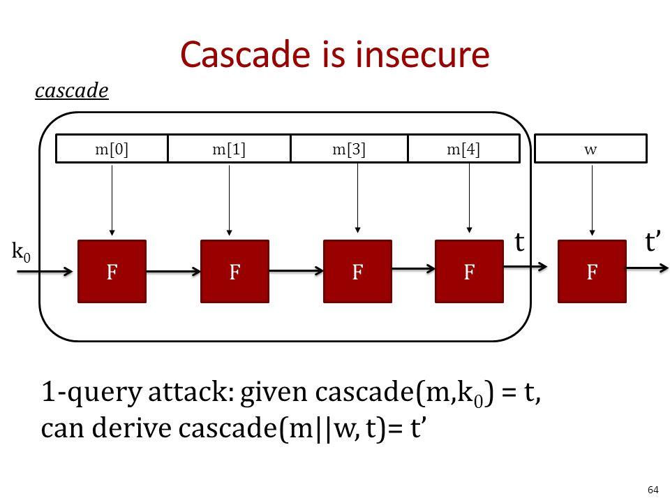 Cascade is insecure 1-query attack: given cascade(m,k 0 ) = t, can derive cascade(m||w, t)= t' 64 cascade FFF m[0]m[1]m[3]m[4] F k0k0 t w F t'