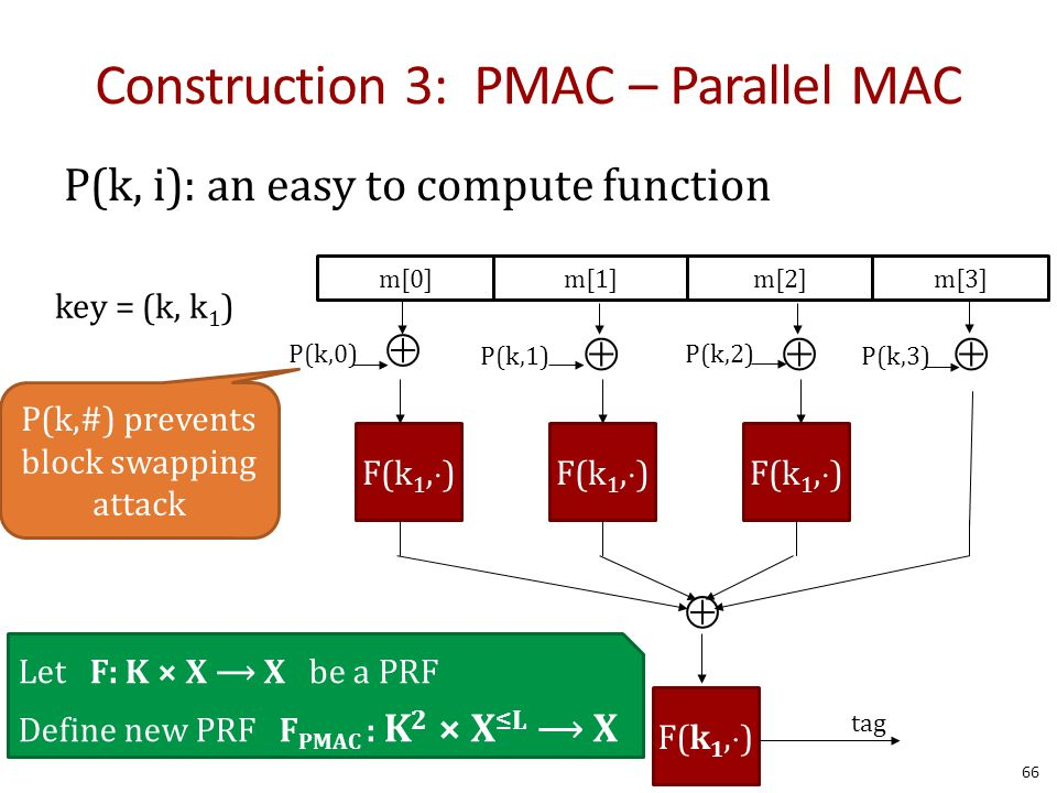 Construction 3: PMAC – Parallel MAC P(k, i): an easy to compute function m[0]m[1]m[2]m[3]   F(k 1,  ) tag  P(k,0) P(k,1) P(k,2) P(k,3) Let F: K × X X be a PRF Define new PRF F PMAC : K 2 × X ≤L X key = (k, k 1 ) P(k,#) prevents block swapping attack 66