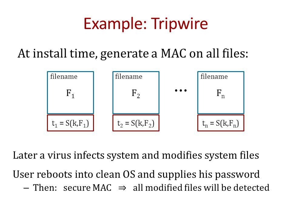 raw CBC Construction 1: Encrypted CBC-MAC (ECBC-MAC) F(k,  ) m[0]m[1]m[3]m[4]  F(k,  )  F(k 1,  ) tag Let F: K × X ⟶ X be a PRP Define new PRF F ECBC : K 2 × X ≤L ⟶ X Why.