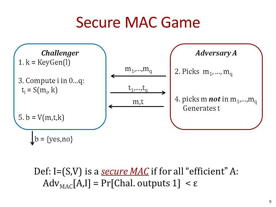 Attack t F(k,  ) m Break in 1-chosen message attack Problem: rawCBC(k, m   t  m ) = F(k, F(k,m)  (t  m) ) = F(k, t  (t  m) ) = F(k,m) = t  IV F(k,  ) m tmtm  m t  IV 20