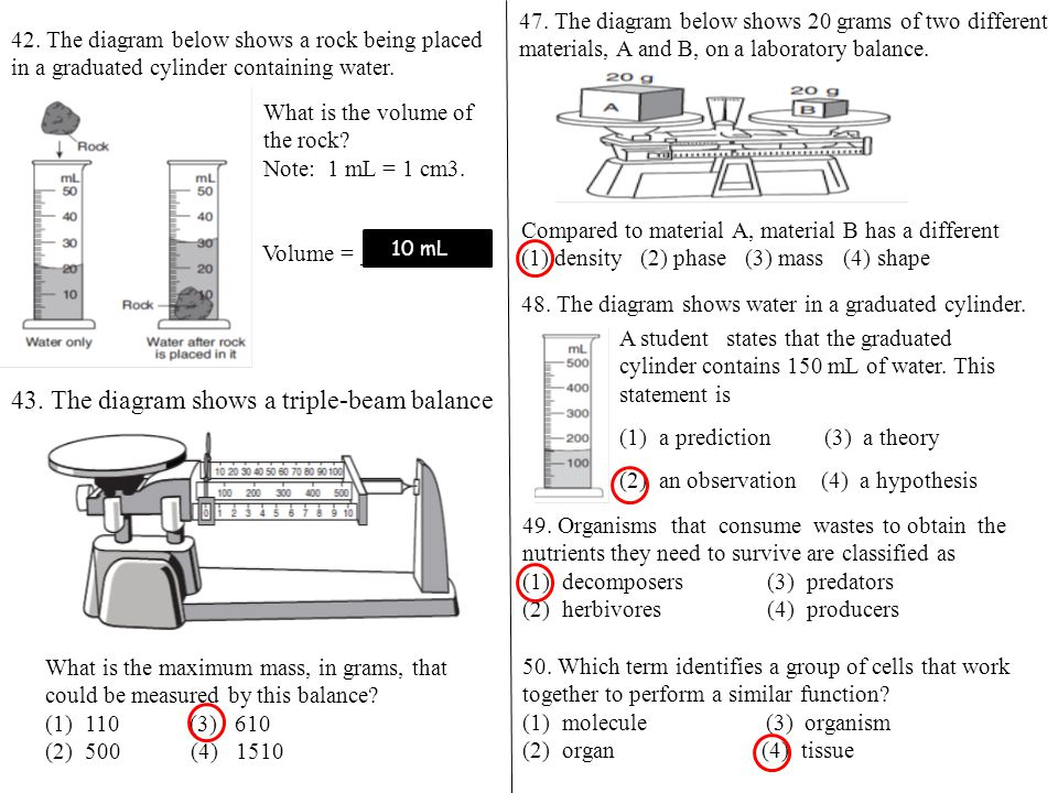 47. The diagram below shows 20 grams of two different materials, A and B, on a laboratory balance. Compared to material A, material B has a different