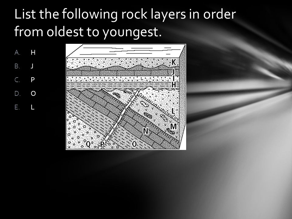 List the following rock layers in order from oldest to youngest. A.H B.J C.P D.O E.L