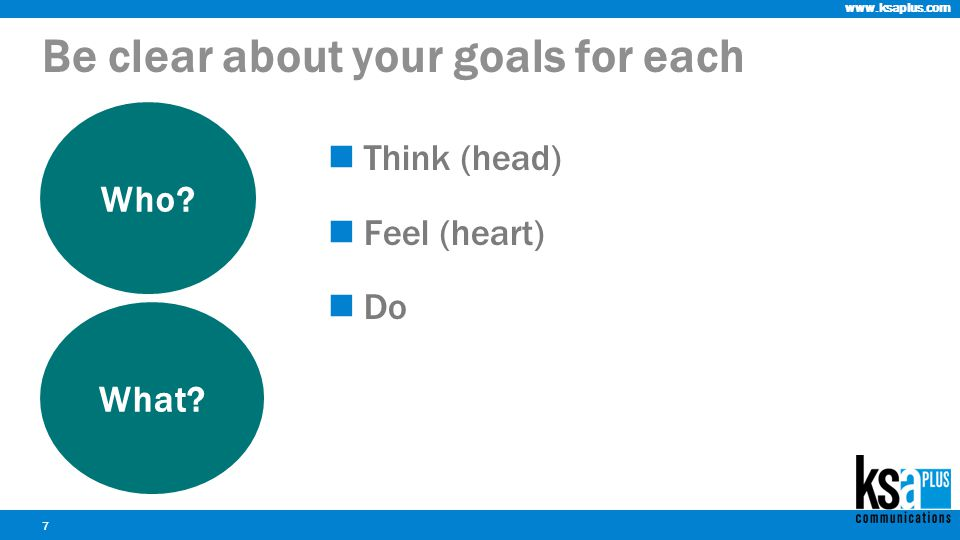 www.ksaplus.com Think (head) Feel (heart) Do 7 Be clear about your goals for each Who What