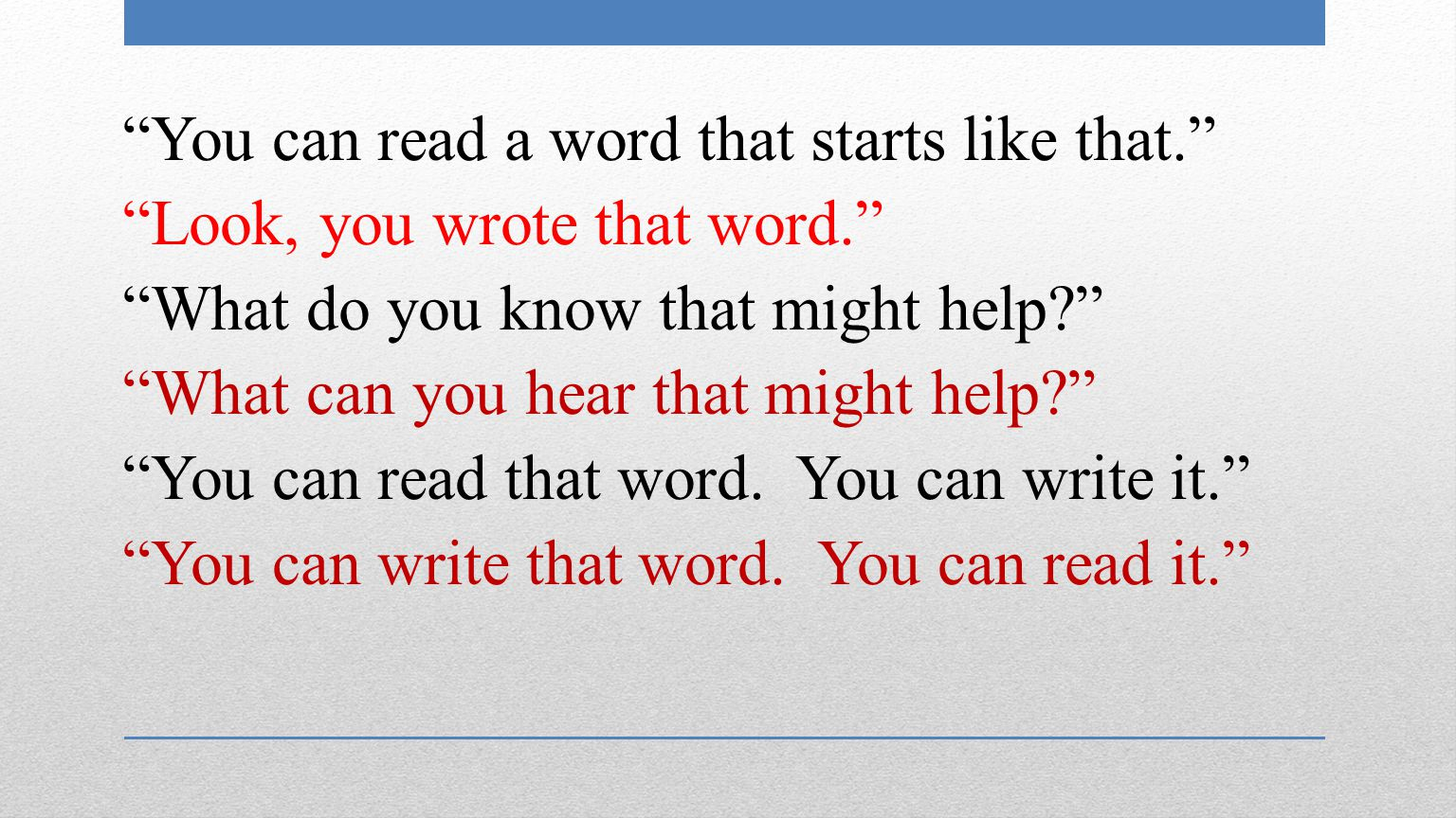 You can read a word that starts like that. Look, you wrote that word. What do you know that might help What can you hear that might help You can read that word.