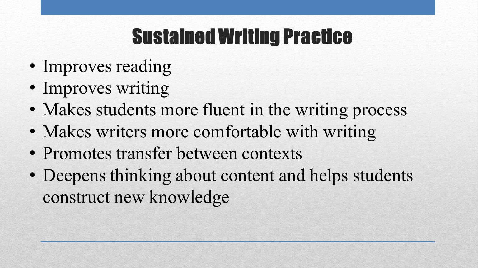 Sustained Writing Practice Improves reading Improves writing Makes students more fluent in the writing process Makes writers more comfortable with writing Promotes transfer between contexts Deepens thinking about content and helps students construct new knowledge