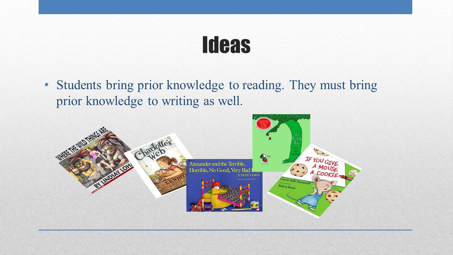 Ideas Students bring prior knowledge to reading.