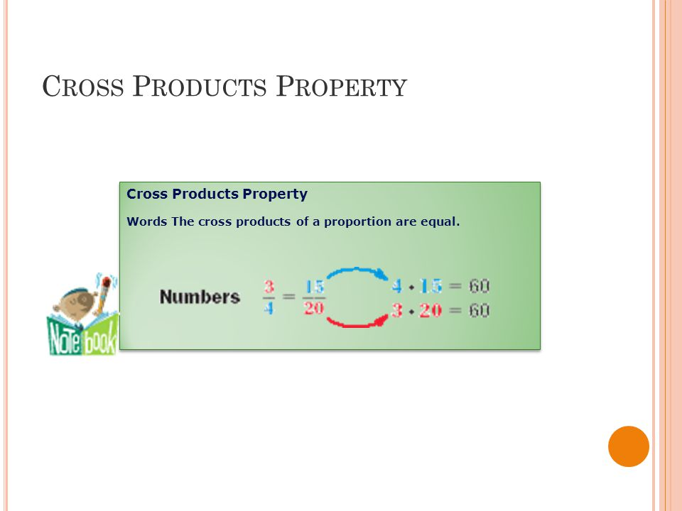 C ROSS P RODUCTS P ROPERTY Cross Products Property Words The cross products of a proportion are equal.