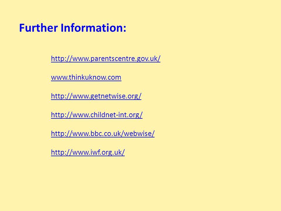 http://www.parentscentre.gov.uk/ www.thinkuknow.com http://www.getnetwise.org/ http://www.childnet-int.org/ http://www.bbc.co.uk/webwise/ http://www.i
