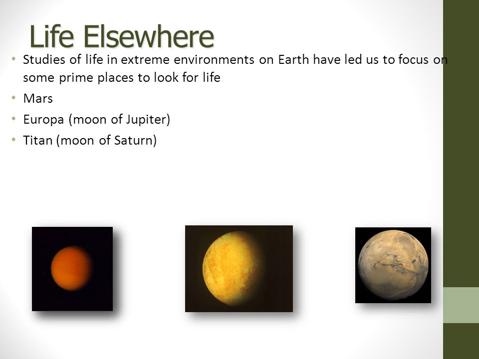 Life Elsewhere Studies of life in extreme environments on Earth have led us to focus on some prime places to look for life Mars Europa (moon of Jupiter) Titan (moon of Saturn)