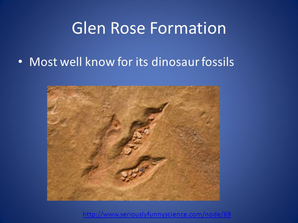 Glen Rose Formation Most well know for its dinosaur fossils http://www.seriouslyfunnyscience.com/node/69