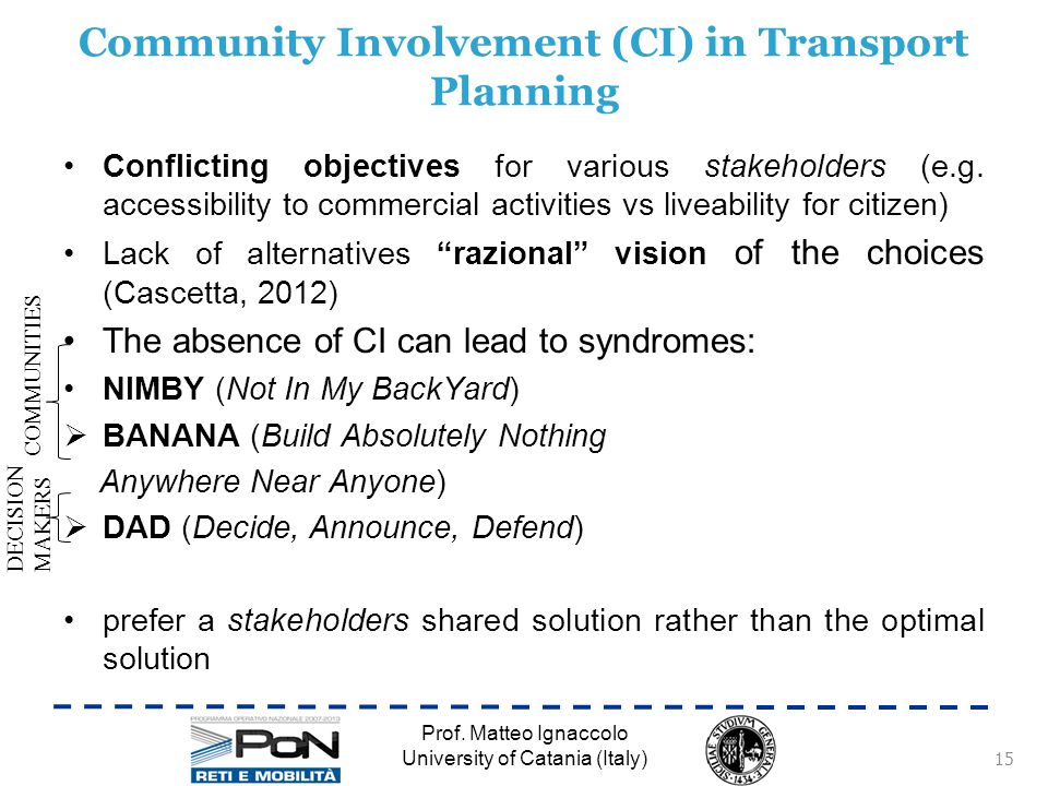 Community Involvement (CI) in Transport Planning Conflicting objectives for various stakeholders (e.g.
