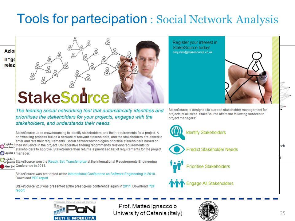 L'uso dei social network nella pianificazione è illustrato da Scott e Ward (2010) Mappatura degli stakeholder (Carter, 2009; Trenitalia, 2004) Misure di centralità (Kazmierckzak, 2012) Software automatici (Stakeholder Circle, StakeSource) Rete = nodi (stakeholder), archi (relazioni) Rete ricostruita tramite interviste (Kazmierckzak, 2012; Pitt, 2008) o snowballing technique (StakeNet, StakeSource) Tools for partecipation : Social Network Analysis Prof.