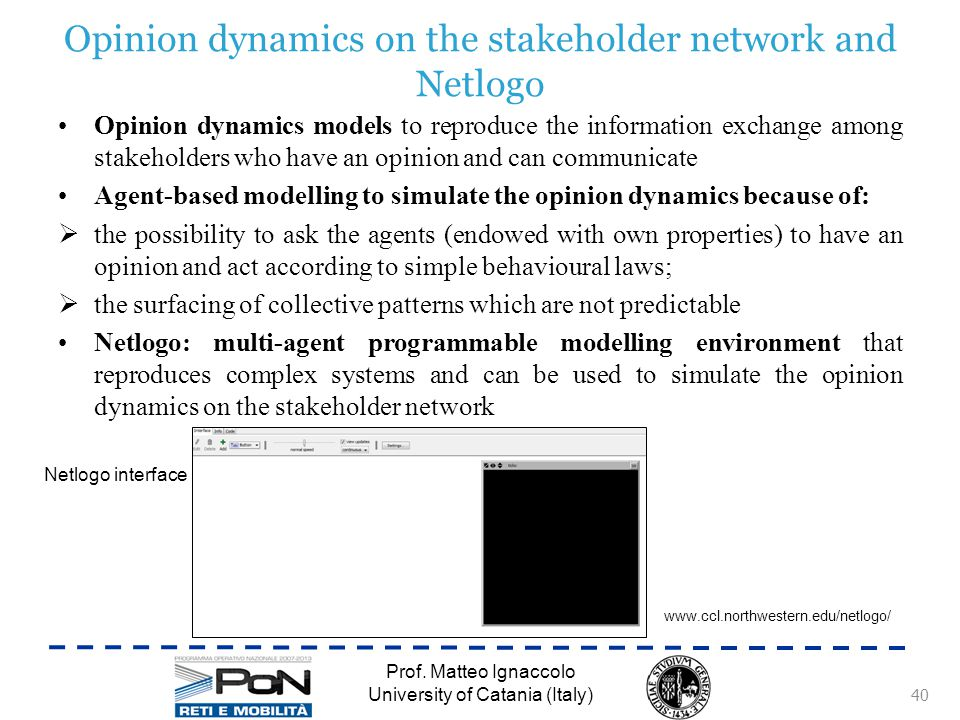 Opinion dynamics on the stakeholder network and Netlogo Prof.