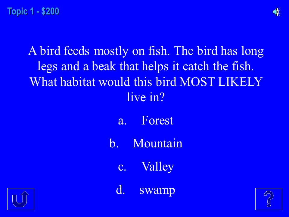 Topic 1 - $100 Animals that live in the mountains must be able to survive cold winters.