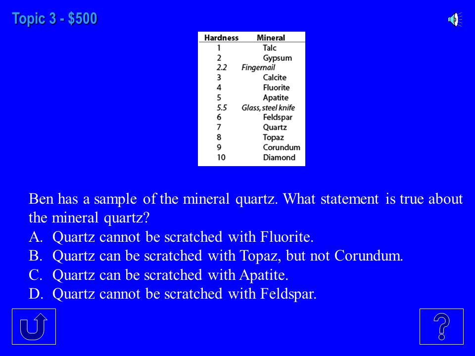 Topic 3 - $400 Which one is a property of minerals A.Brightness B.Hardness C.Taste D.Size