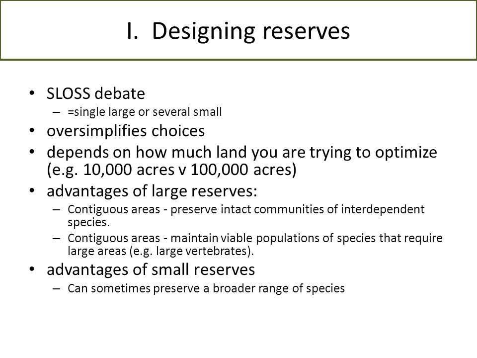 III.Protected areas as part of reserve design A. What is a protected area.