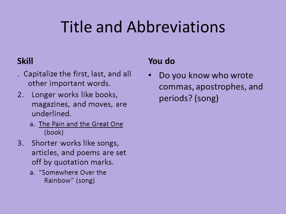 Title and Abbreviations Skill. Capitalize the first, last, and all other important words. 2.Longer works like books, magazines, and moves, are underli