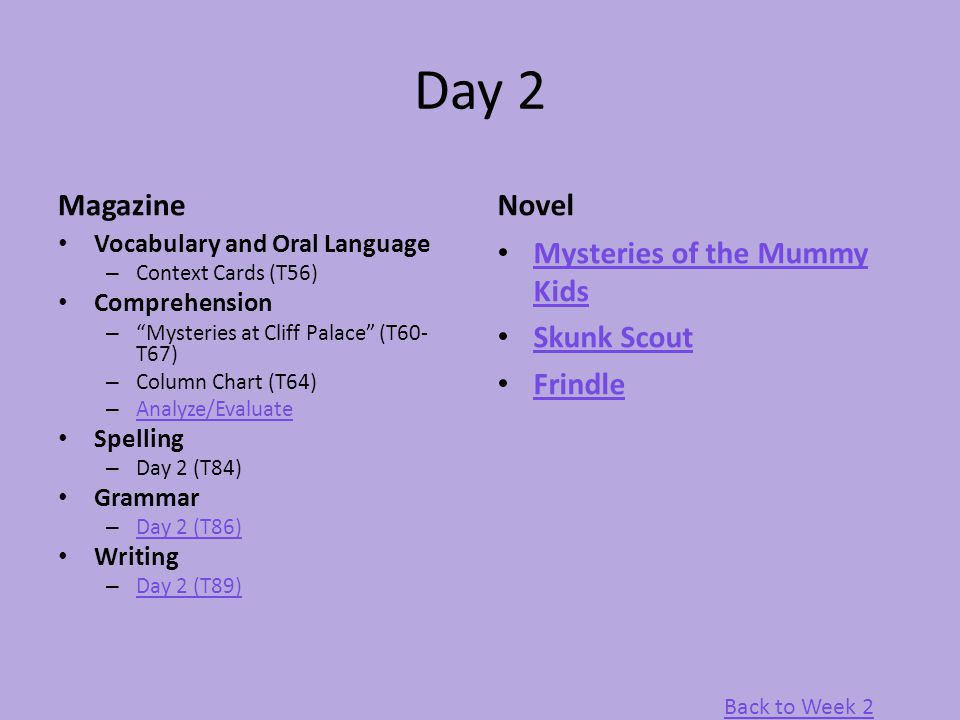 "Day 2 Magazine Vocabulary and Oral Language – Context Cards (T56) Comprehension – ""Mysteries at Cliff Palace"" (T60- T67) – Column Chart (T64) – Analyz"
