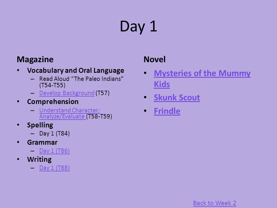 "Day 1 Magazine Vocabulary and Oral Language – Read Aloud ""The Paleo Indians"" (T54-T55) – Develop Background (T57) Develop Background Comprehension – U"