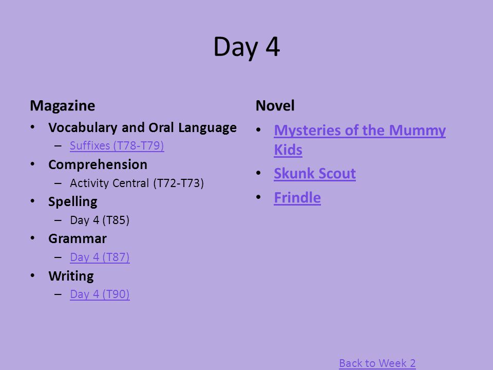 Day 4 Magazine Vocabulary and Oral Language – Suffixes (T78-T79) Suffixes (T78-T79) Comprehension – Activity Central (T72-T73) Spelling – Day 4 (T85)