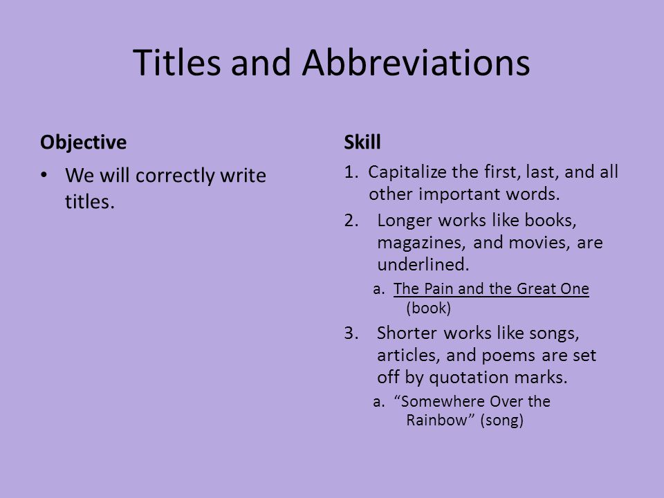 Titles and Abbreviations Objective We will correctly write abbreviations.