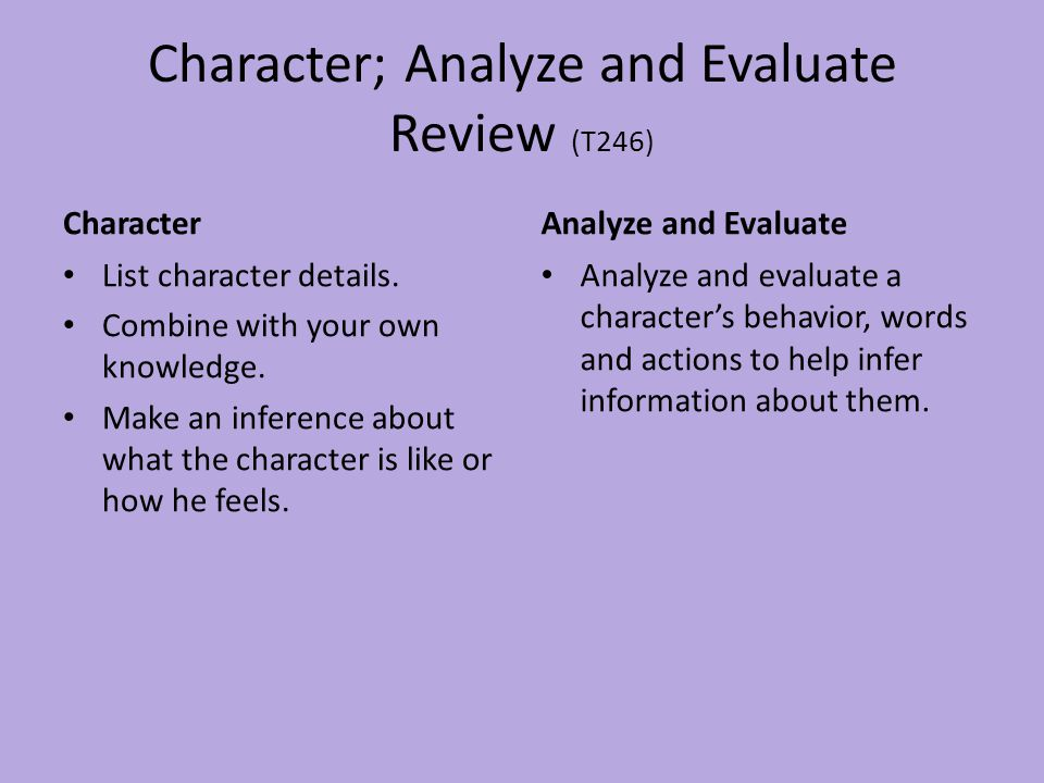 Character; Analyze and Evaluate Review (T246) Character List character details. Combine with your own knowledge. Make an inference about what the char