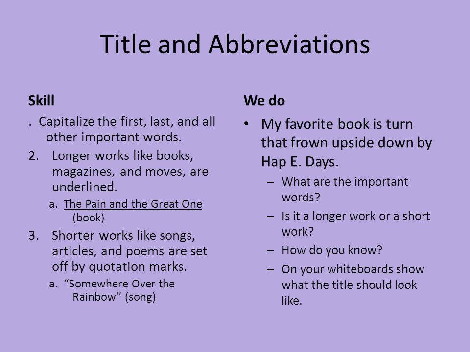 Titles and Abbreviations Review What is the meaning of the abbreviation.