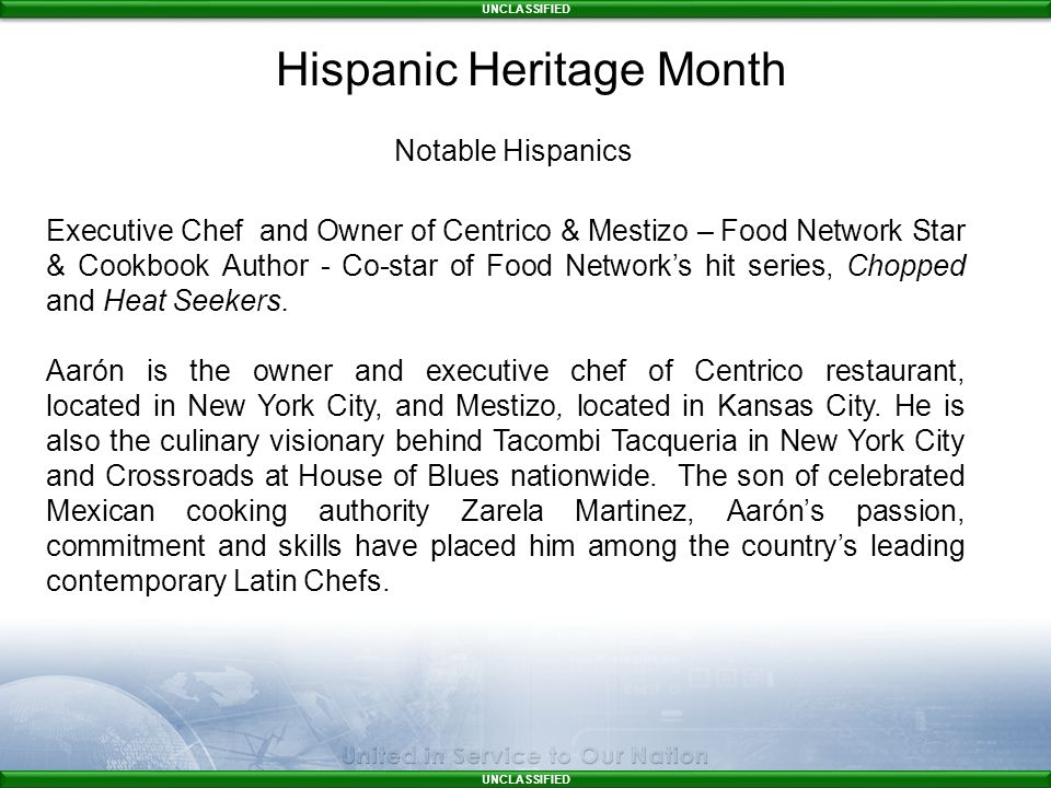 UNCLASSIFIED Executive Chef and Owner of Centrico & Mestizo – Food Network Star & Cookbook Author - Co-star of Food Network's hit series, Chopped and Heat Seekers.