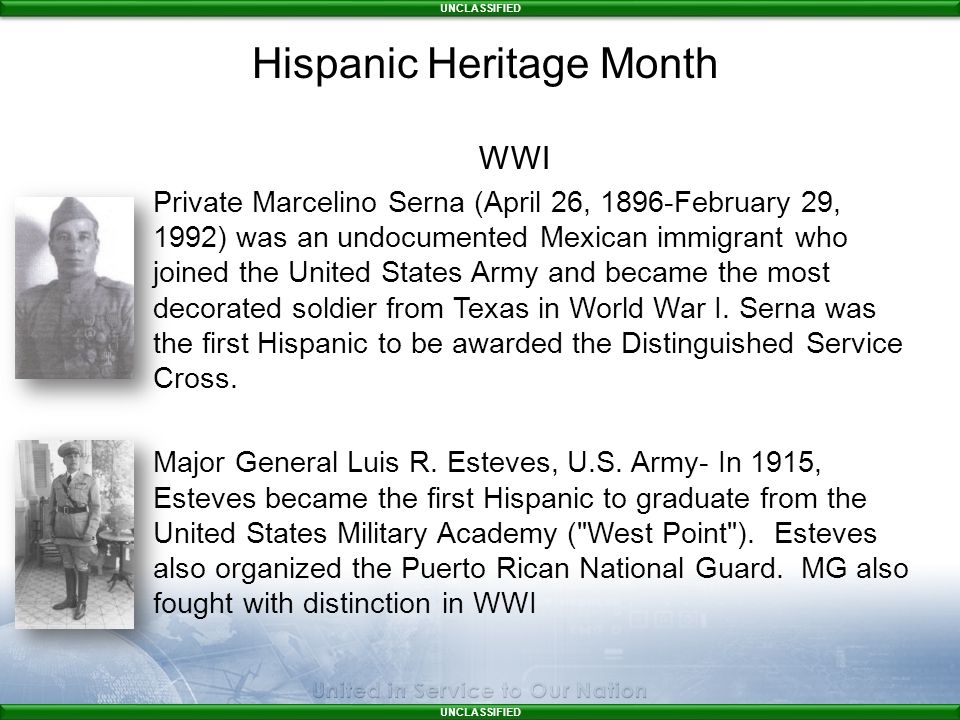 UNCLASSIFIED WWI Private Marcelino Serna (April 26, 1896-February 29, 1992) was an undocumented Mexican immigrant who joined the United States Army and became the most decorated soldier from Texas in World War I.