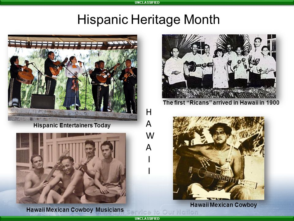 UNCLASSIFIED The first Ricans arrived in Hawaii in 1900 Hispanic Entertainers Today Hawaii Mexican Cowboy Hawaii Mexican Cowboy Musicians H A W A I Hispanic Heritage Month