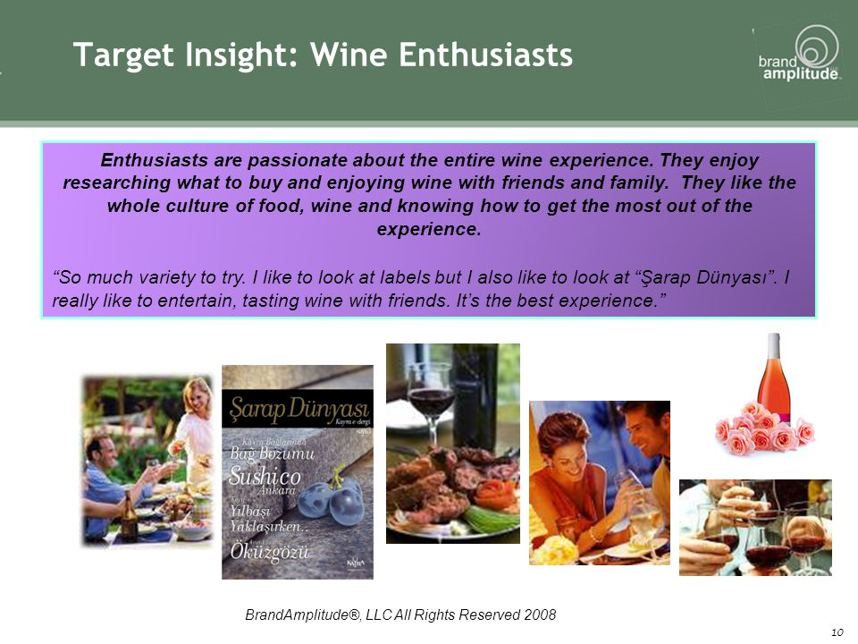 BrandAmplitude®, LLC All Rights Reserved 2008 10 Target Insight: Wine Enthusiasts Enthusiasts are passionate about the entire wine experience.