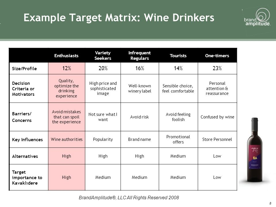 BrandAmplitude®, LLC All Rights Reserved 2008 8 Example Target Matrix: Wine Drinkers Enthusiasts Variety Seekers Infrequent Regulars TouristsOne-timers Size/Profile 12%20%16%14%23% Decision Criteria or Motivators Quality, optimize the drinking experience High price and sophisticated image Well-known winery label Sensible choice, feel comfortable Personal attention & reassurance Barriers/ Concerns Avoid mistakes that can spoil the experience Not sure what I want Avoid risk Avoid feeling foolish Confused by wine Key Influences Wine authoritiesPopularityBrand name Promotional offers Store Personnel Alternatives High MediumLow Target importance to Kavaklıdere HighMedium Low